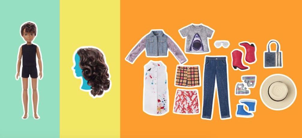 В набор входят бесполая кукла, парик и два комплекта одежды — мужской и женский. Фото © Mattel