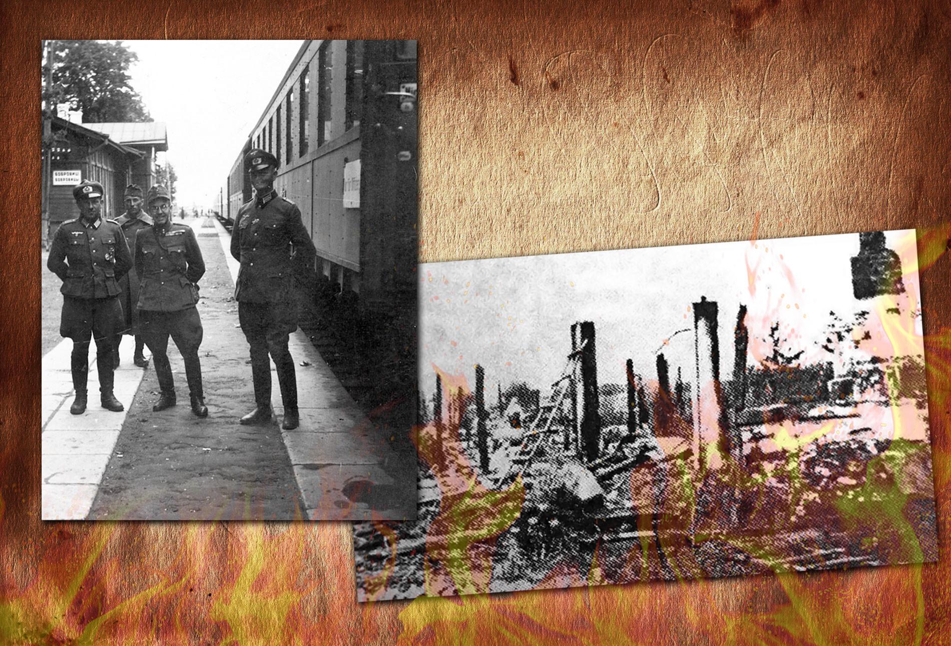 Венгерский офицер с офицерами вермахта/Сожжённая Корюковка Коллаж © L!FE Фото: © histrf.ru