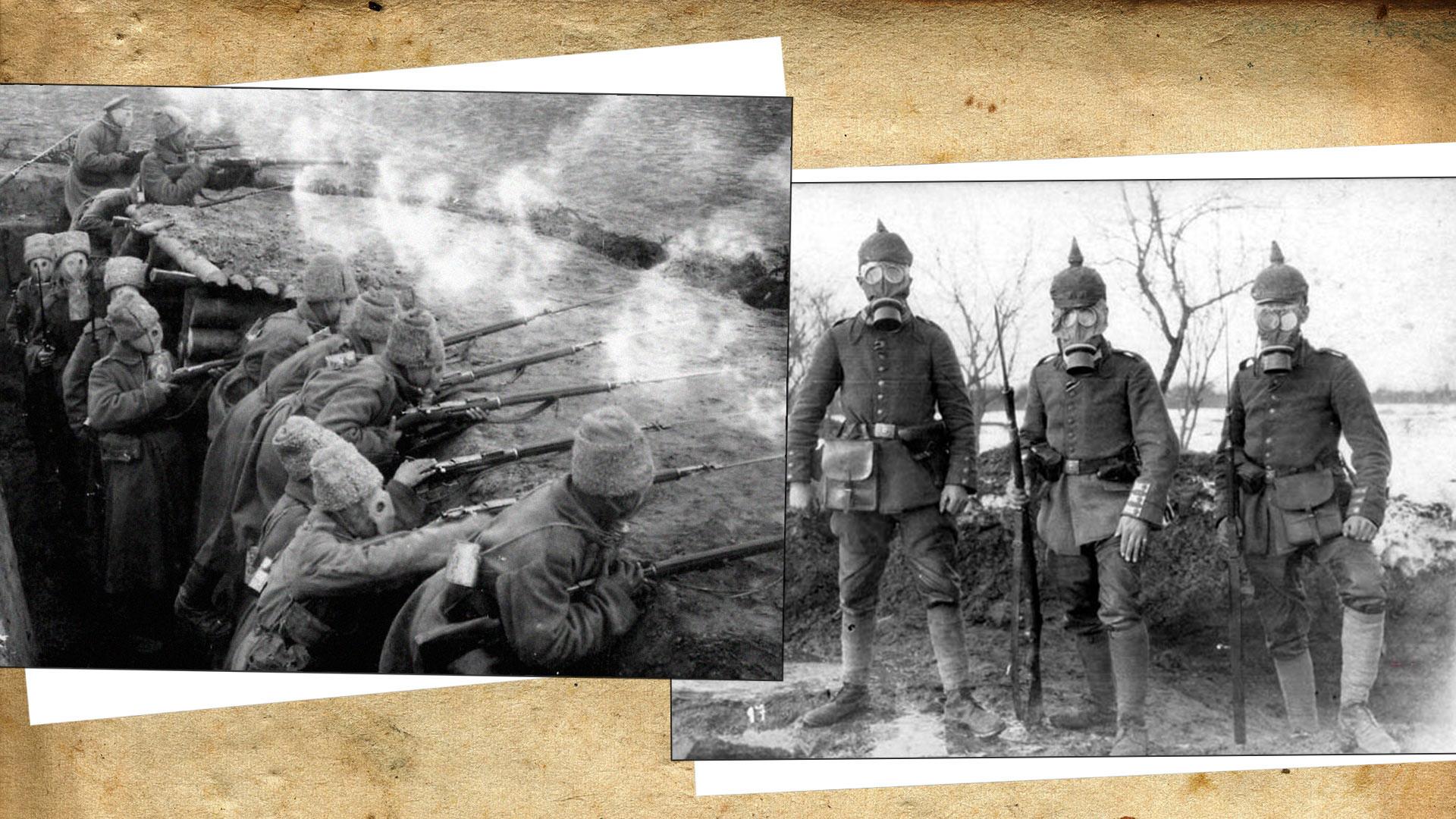Солдаты Духовщинского 267-го пехотного полка в противогазах Зелинского/Немецкие солдаты. Коллаж © L!FE. Фото © Wikimedia Commons