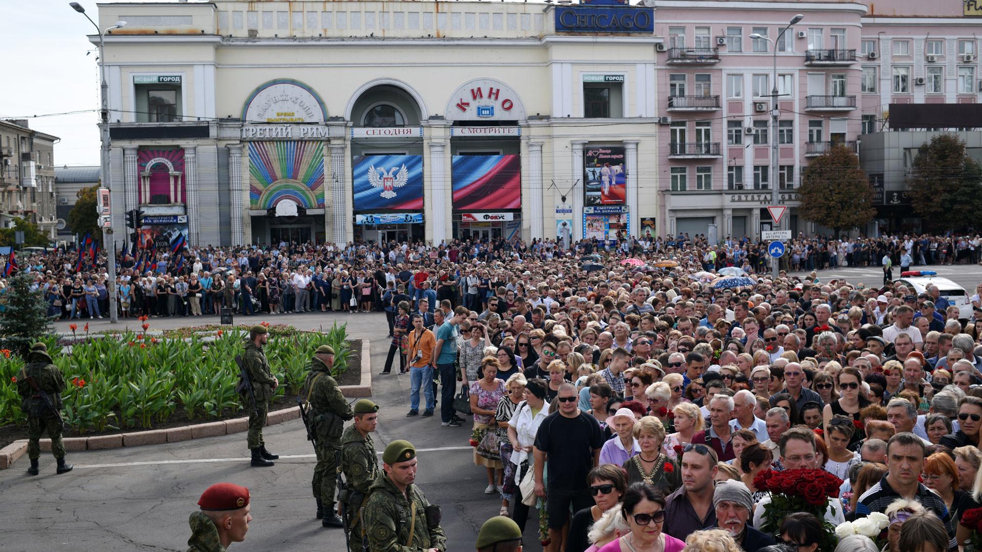 Местные жители на церемонии прощания с главой ДНР Александром Захарченко. Фото: © РИА Новости/Валерий Мельников