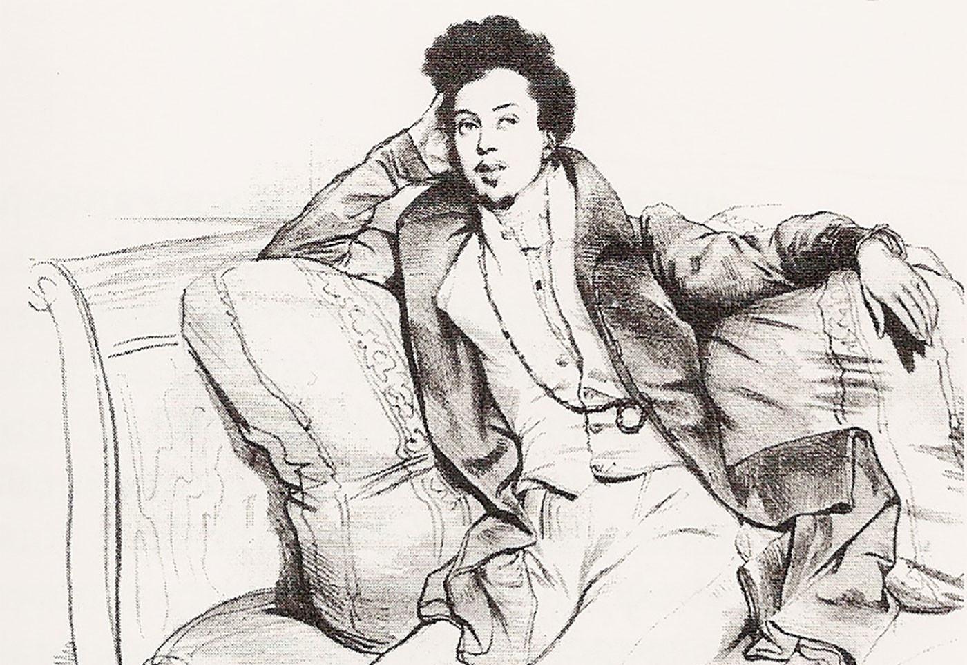 Александр Дюма в возрасте 27 лет (зарисовка Девериа). Фото © Wikipedia