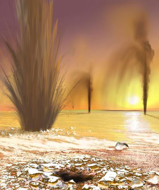 Действующие гейзеры у южного полюса Марса в представлении художника (цвета, конечно, несколько некорректные). Фото: © wikipedia.org