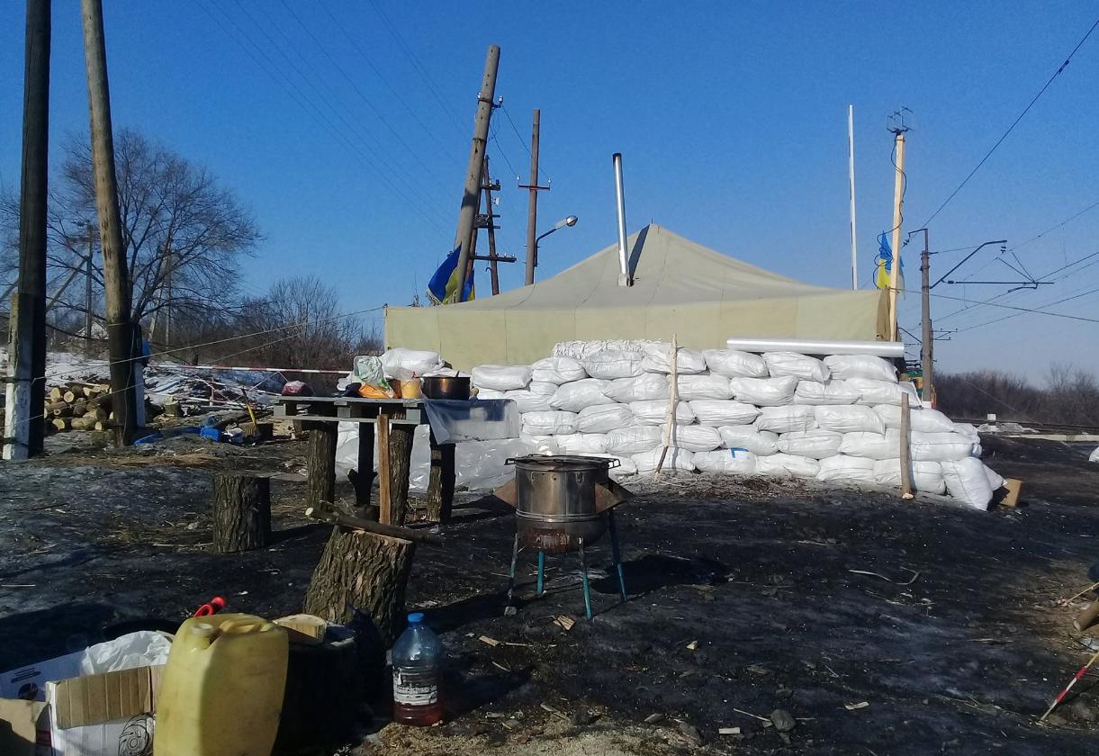 Вот так выглядят укрепления организаторов блокады. Фото: Facebook