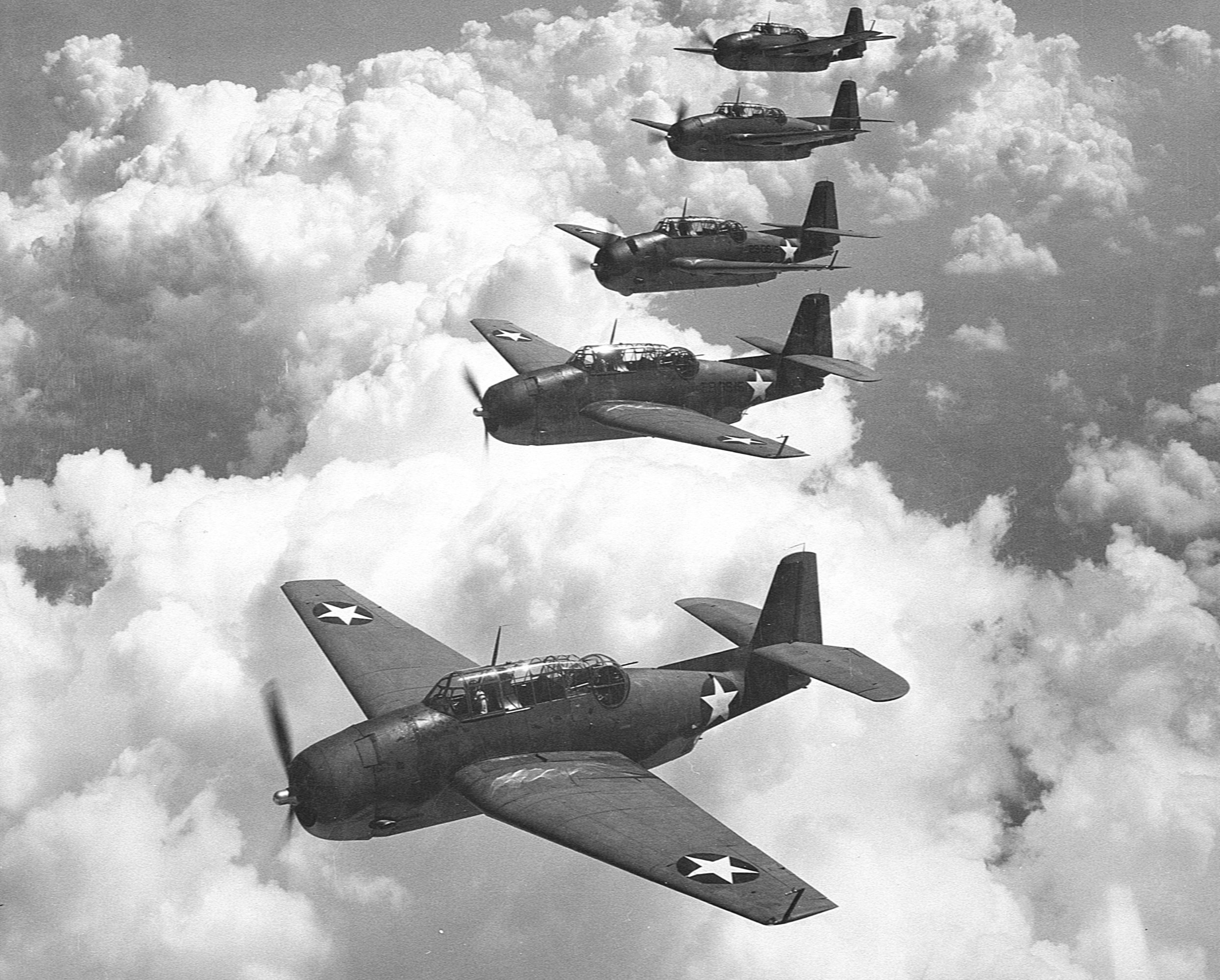 "Звено из пяти торпедоносцев ТВМ-3 ""Эвенджер"". Фото © Wikipedia"