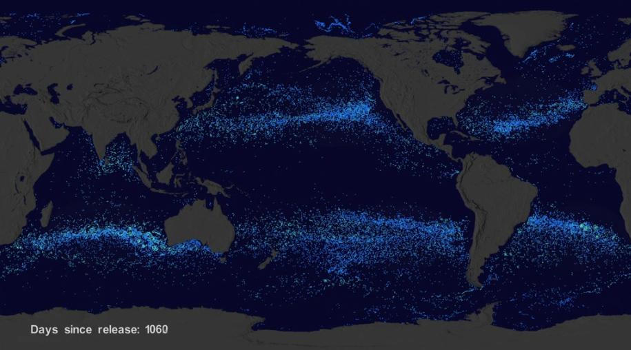 Смоделированная карта мусорных пятен в океанах. Фото © NASA
