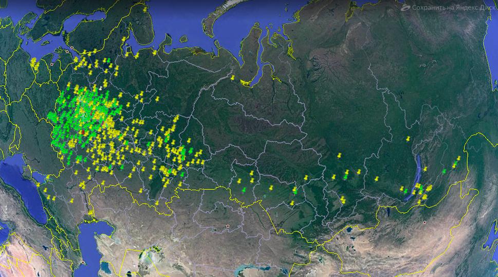 Карта, на которой зелёным указано, где фотограф уже снимал наличники, жёлтым — где планирует. Фото: © Иван Хафизов