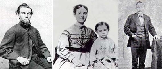 Капитан корабля Бенджамин Бриггс, его жена Сара Элизабет с их дочерью Софией Матильдой и Альберт Ричардсон. Фото © Public Domain