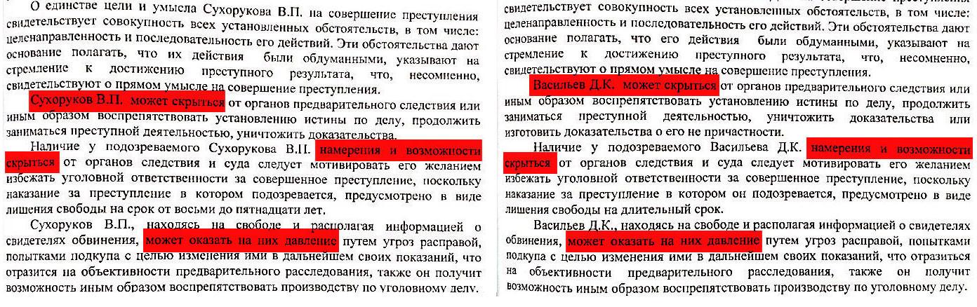 Два ходатайства на арест Сухорукова и Васильева с одинаковыми основаниями. Документ предоставлен Колосовским Сергеем Вячеславовичем