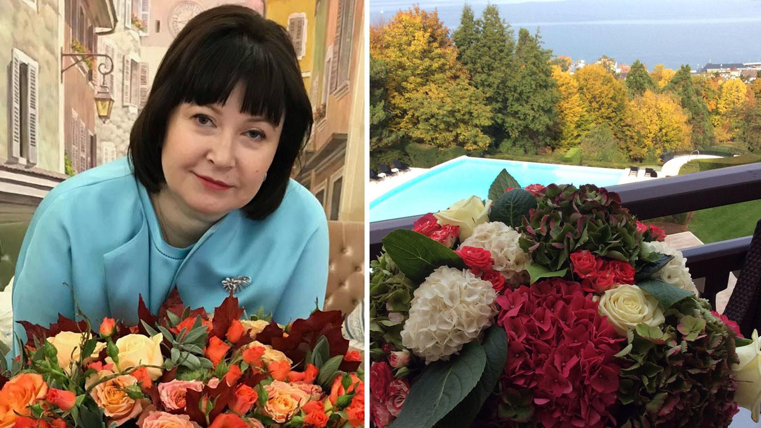 Наталья Стришняя (слева). Вид из 5* отеля в Савойских Альпах (справа). Фото © Facebook / Наталья Стришняя