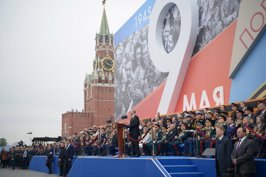 <p>Президент России Владимир Путин на трибуне на Красной площади во время Парада Победы — 2019 в Москве. Фото © ТАСС / Алексей Никольский</p>