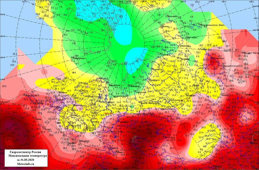 Максимальная температура в России за 31 мая 2020 года. Фото © Гидрометцентр России