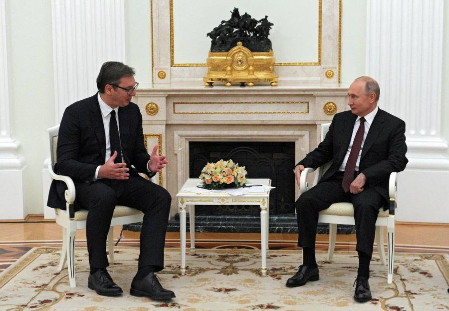 <p>Президент Сербии Александр Вучич и президент России Владимир Путин. Фото © ТАСС / Михаил Климентьев</p>