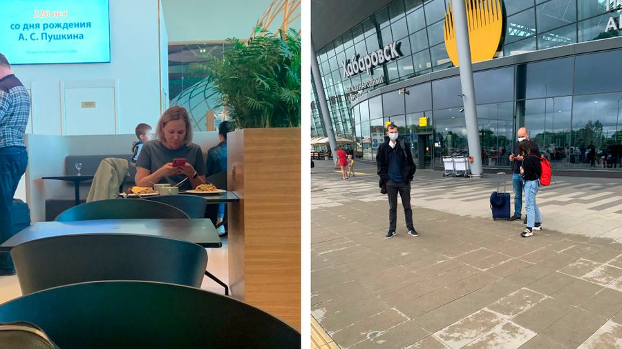 Татьяна Усманова, Андрей Пивоваров (в синих джинсах с чемоданом). Фото © Соцсети