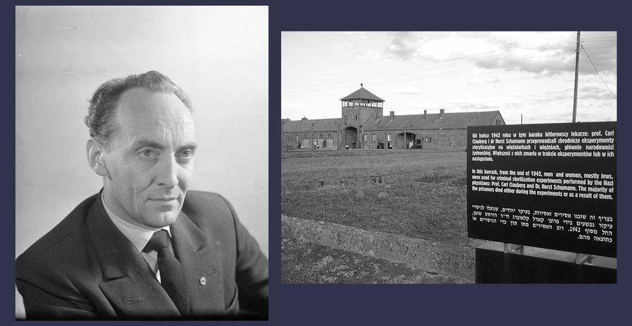 Слева на фотографии Хорст Шуман. Справа — остатки здания в Освенциме II (Биркенау), где Шуман совершал медицинские зверства. Фото © Wikipedia