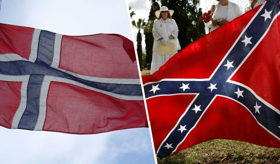 Флаг Норвегии (слева) и флаг Конфедерации. Коллаж © LIFE. Фото © Pixabay, © ТАСС / The Bakersfield Californian / ZUMAPRESS.com