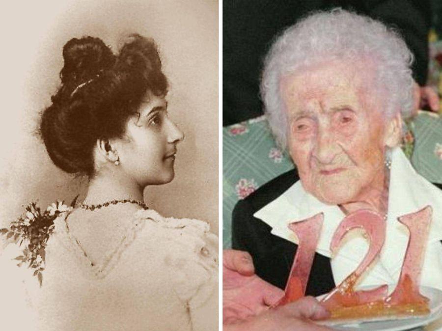 Жанна Кальман в 20 лет (слева) и в 121 год (справа). Фото © Wikimedia Commons