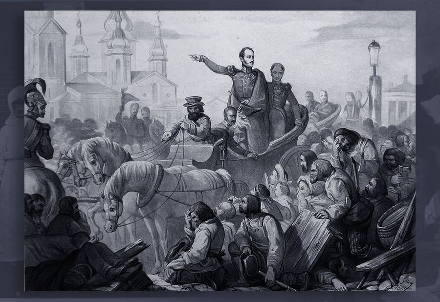 Николай I во время холерного бунта на Сенной площади. Фото © Wikipedia