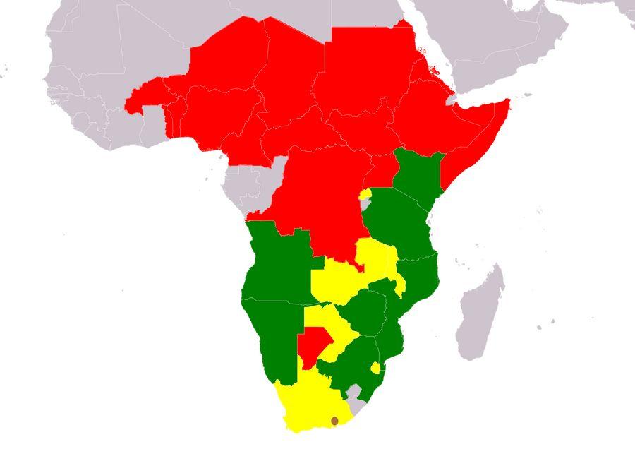 Ситуация с популяцией чёрных носорогов в странах Африки. Фото © Wikipedia