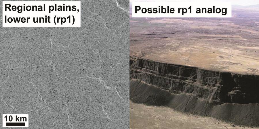 Пример равнины на поверхности Венеры (слева) и близкий к ней земной аналог. Фото © NASA, ГЕОХИ РАН