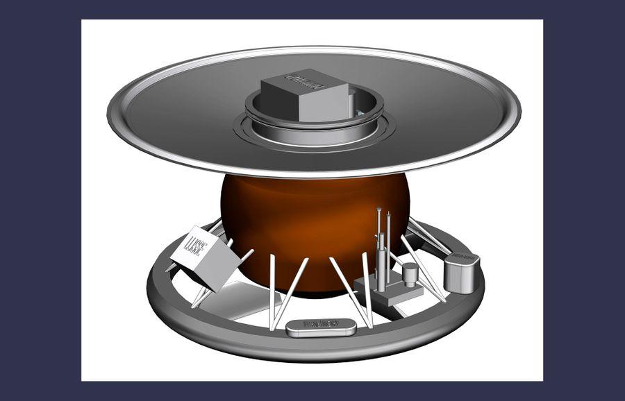 Схематичное изображение посадочного модуля. Изображение предоставлено НПО имени Лавочкина