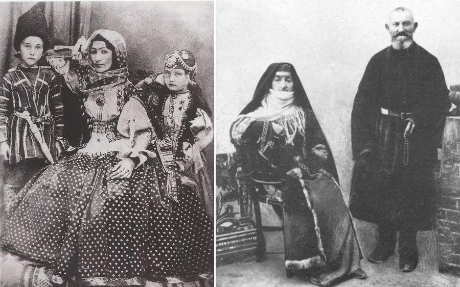 Уроженка Шуши азербайджанская поэтесса Хуршидбану Натаван с детьми / Армяне из Шуши, начало XX века. Фото ©Wikipedia