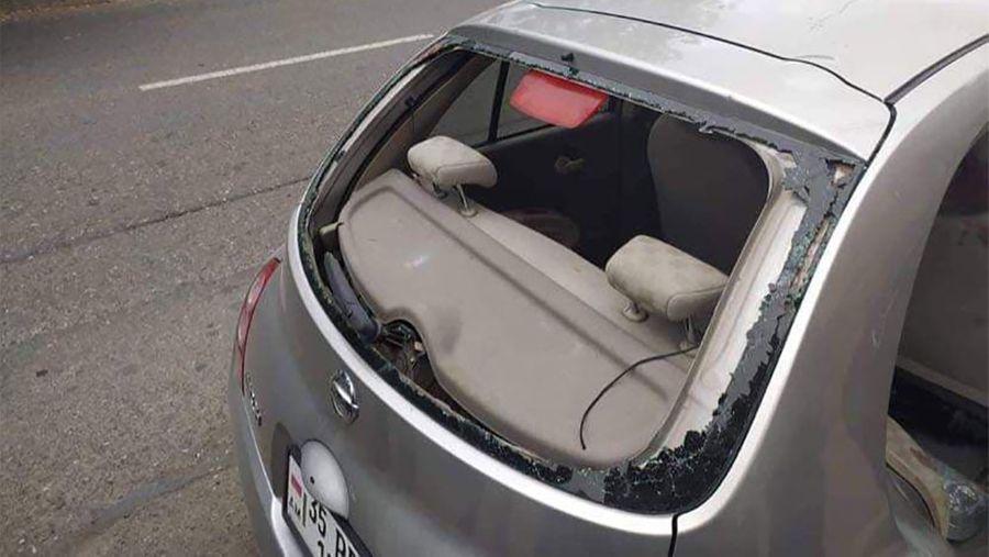 Автомобиль журналистов 24News, попавших под обстрел. Фото © Facebook / НКР ИнфоЦентр