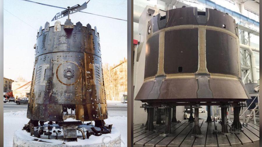 """Модель пепелаца из к/ф """"Кин-дза-дза"""" (слева) и компонент космического корабля """"Орёл"""" (справа) Фото © Wikipedia / Twitter / Rogozin"""