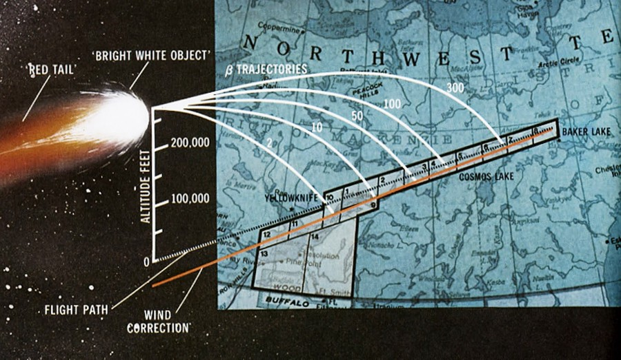 """Схема выпадения обломков спутника """"Космос-954"""" в Канаде. Фото © fly.historicwings.com"""