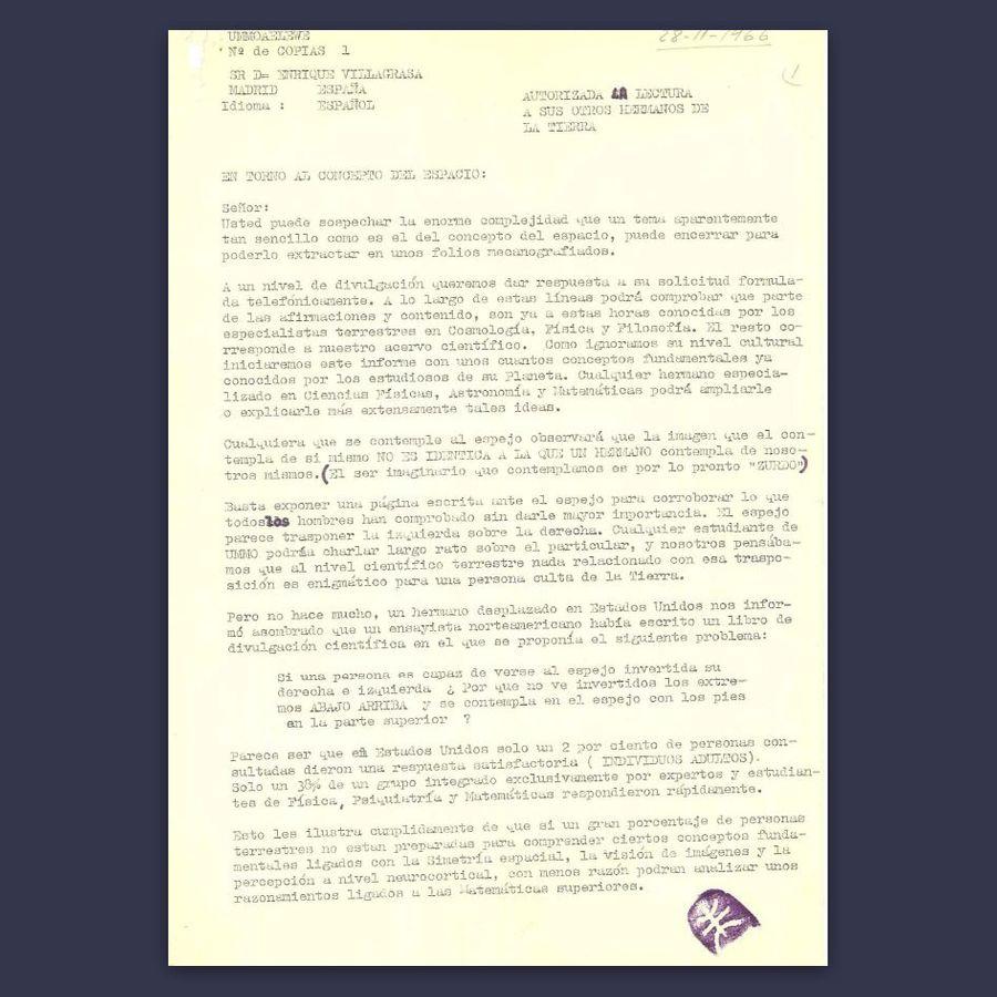 Письмо на испанском языке, направленное некоему Энрике Вильяграса 28 ноября 1966 года. Обращает на себя внимание сиреневая печать с символом Уммо (внизу справа). Фото © Wikipedia