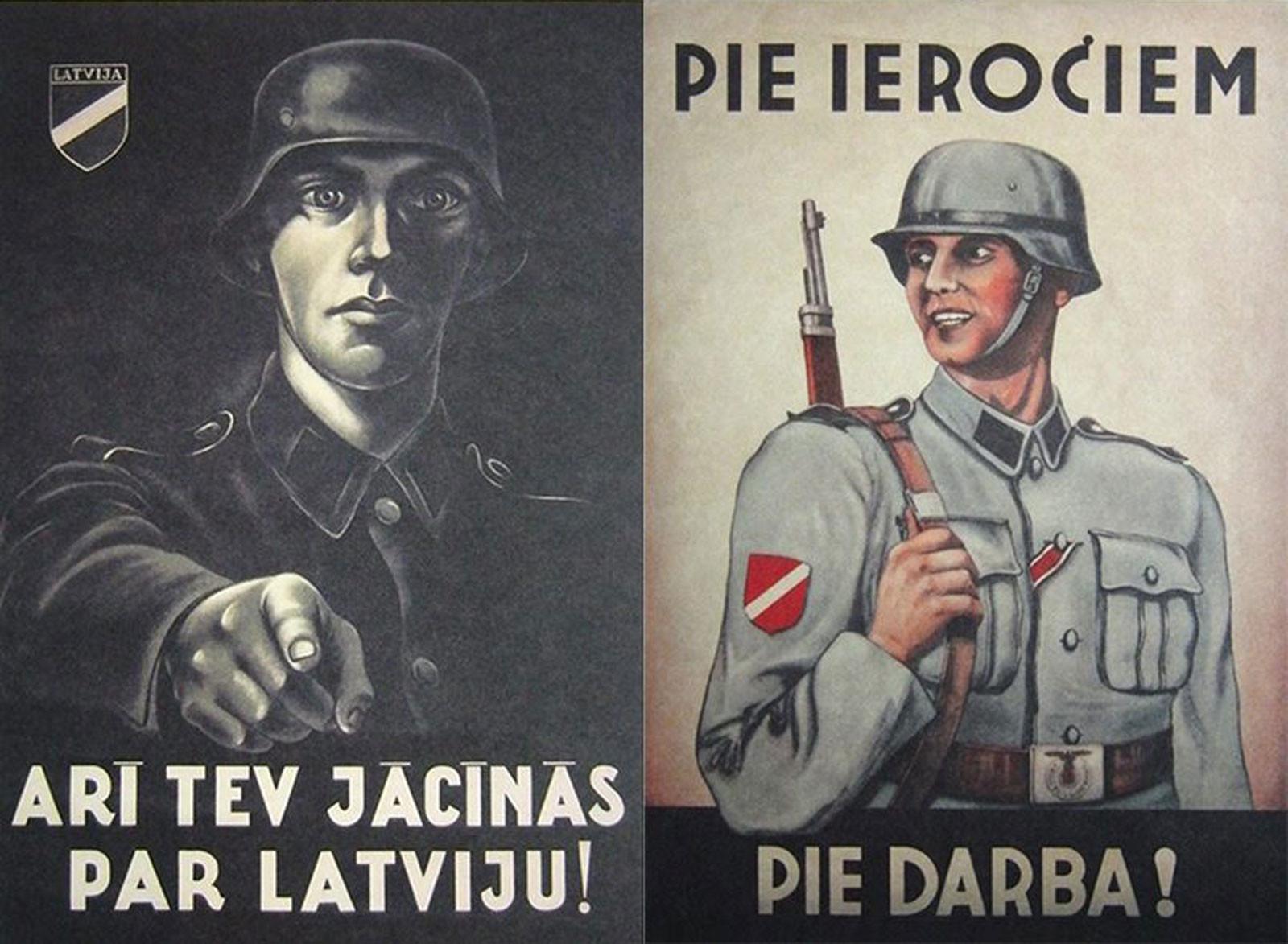 """Слева плакат """"Ты тоже должен бороться за Латвию"""", призывающий вступить в Латышский легион СС. Справа — """"К оружию! За работу!"""" Фото © rubaltic.ru"""