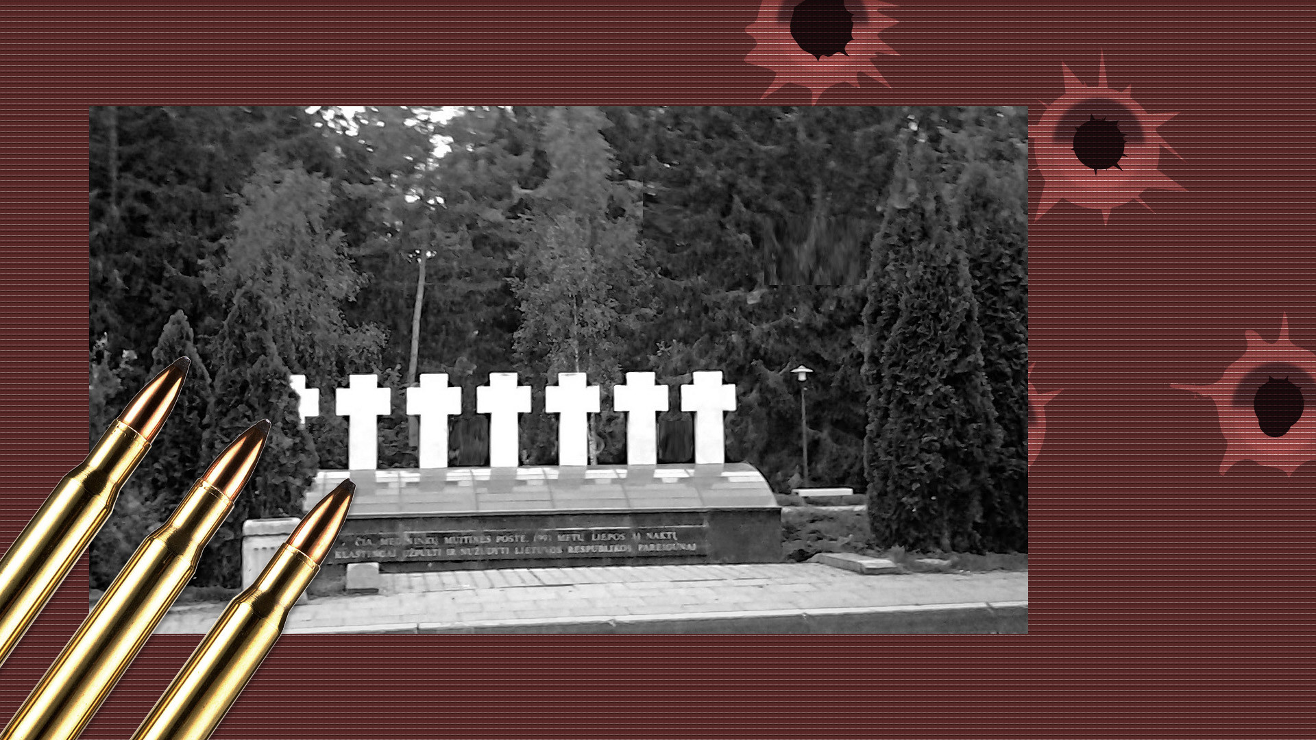 Памятник семи литовским должностным лицам в Мядининкае, убитым 31 июля 1991 года. Фото: © wikipedia.org