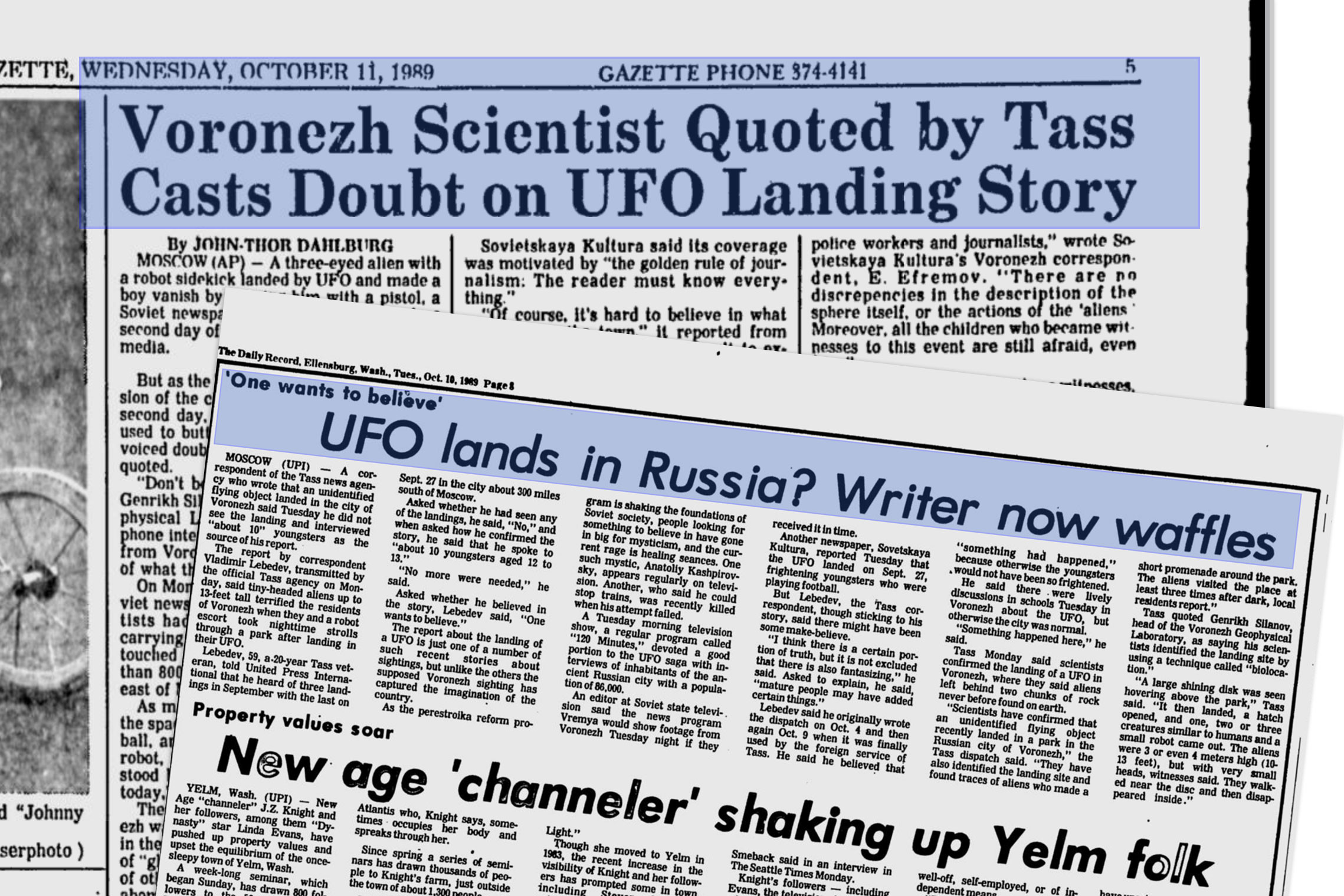 "Заголовки иностранных газет о Воронежском феномене. © ""Voronzeh Scientist Quoted by Tass Casts Doubt on UFO Landing Story"". Associated Press. Retrieved 21 March 2014. , © ""UFO lands in Russia? Writer now waffles"". United Press International."