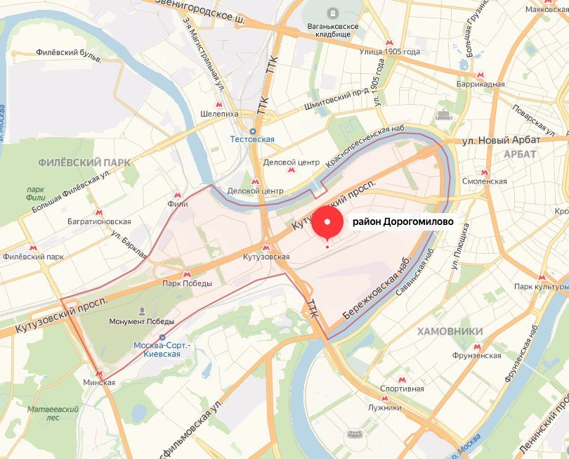 """Район Дорогомилово — один из центральных. Фото © """"Яндекс.Карты"""""""