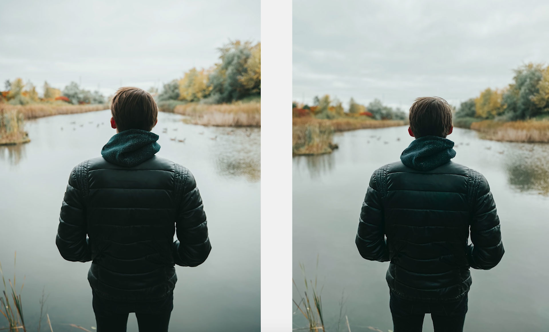 Слева снято на Canon 1DX Mark II, справа — на iPhone 11 Pro. Кадр из видео YouTube / Matti Haapoja