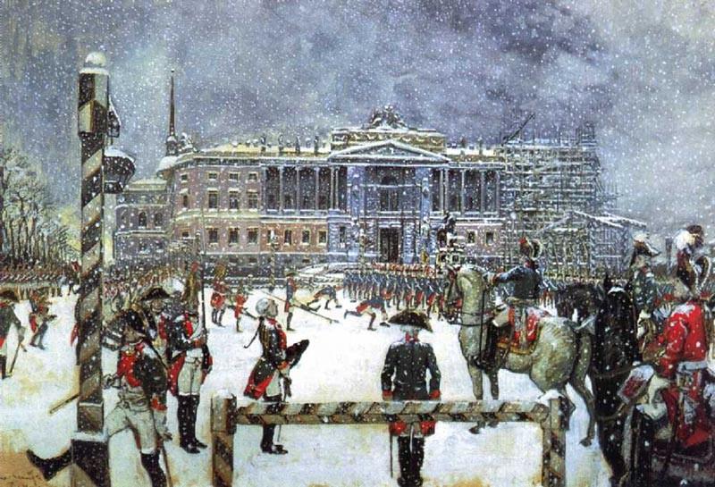 © Картина А.Н. Бенуа. Парад при Павле I. 1907 г.