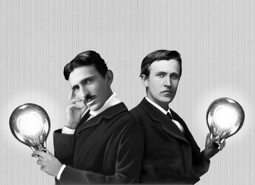 Стилизованное изображение Теслы и Эдисона (на самом деле Эдисон был старше Теслы на 9 лет). Фото © Интересные факты