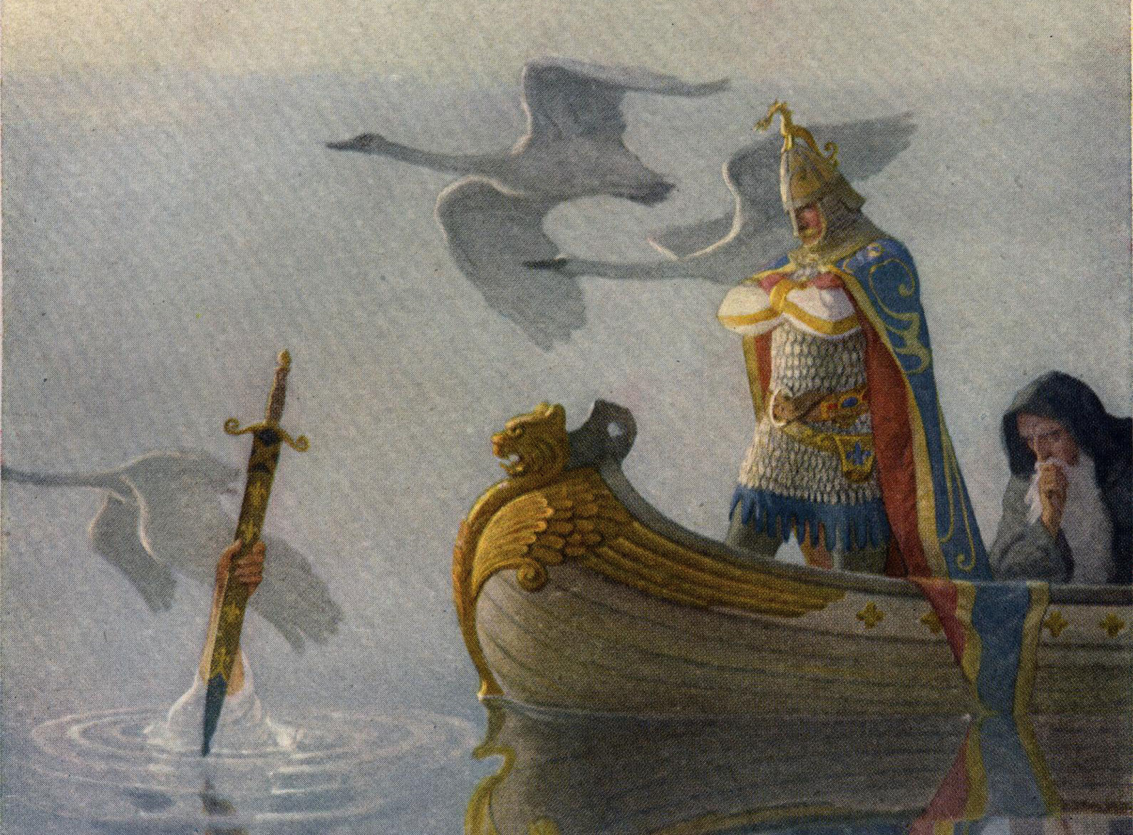 Артур получает меч Экскалибур от Леди Озера. Фото © Wikipedia