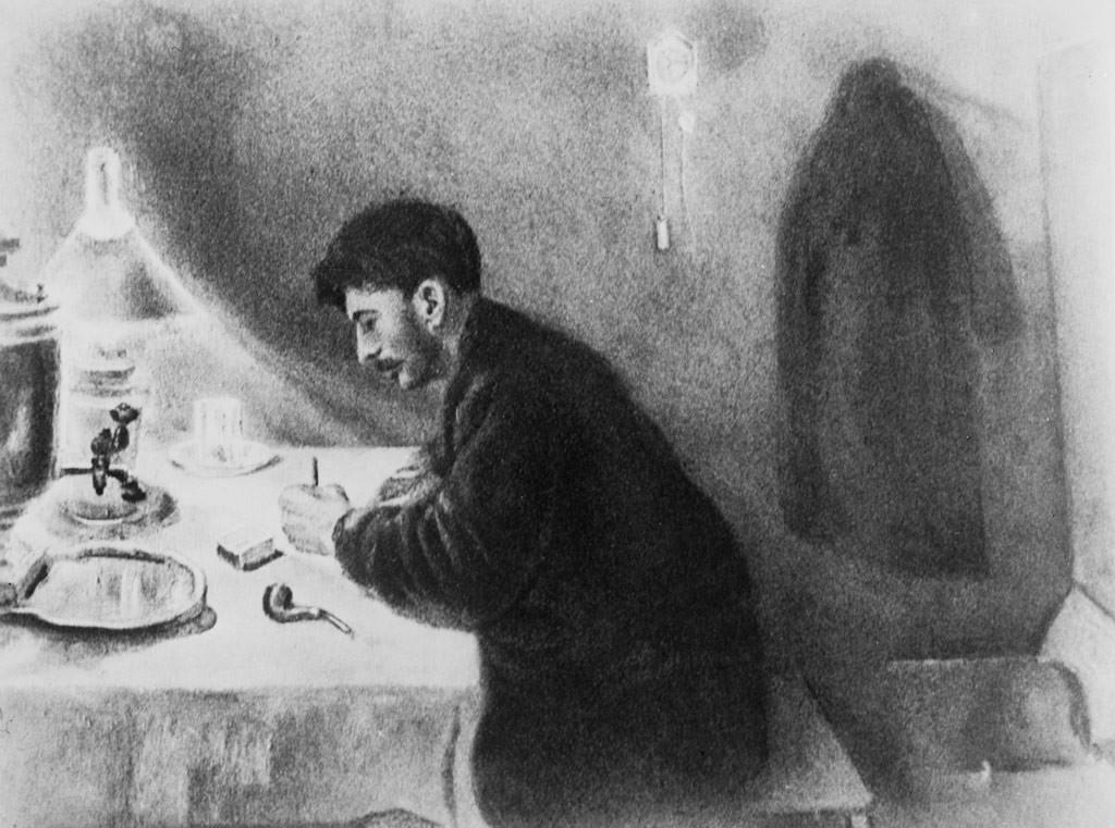 """Картина """"И.В. Сталин пишет наказ петербургских рабочих своему рабочему депутату"""". Художник И. Денисовский. Фото © ТАСС"""