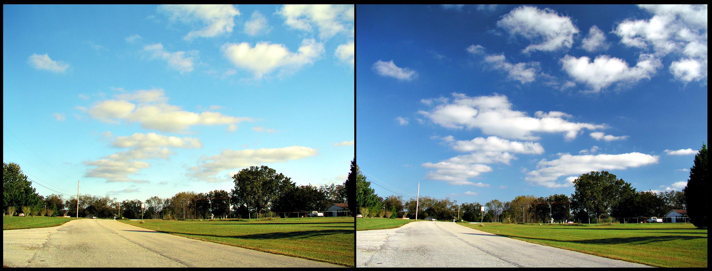 С одной стороны фото одной и той же сцены пропущены только световые волны, колебавшиеся горизонтально, с другой — вертикально. Фото © Wikimedia Commons