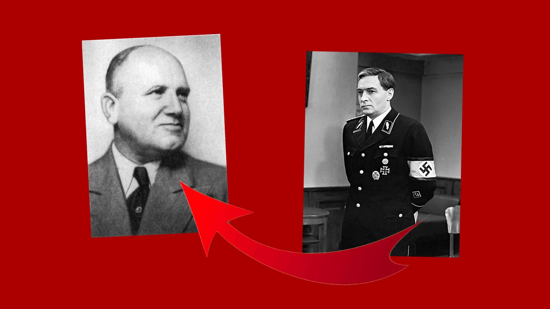 """Вилли Леман (слева) и Вячеслав Тихонов в роли Штирлица (справа). Коллаж © LIFE. Фото © Wikipedia, © """"Кинопоиск"""""""