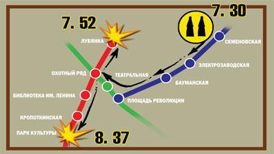 """Предположительно, террористки приехали к местам взрывов со станции """"Семеновская"""""""
