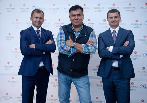 Владимир Винославский, генеральный директор HELIOPARK, Станислав Садальский и Евгений Бугровский, операционный директор по управлению сетью отелей HELIOPARK