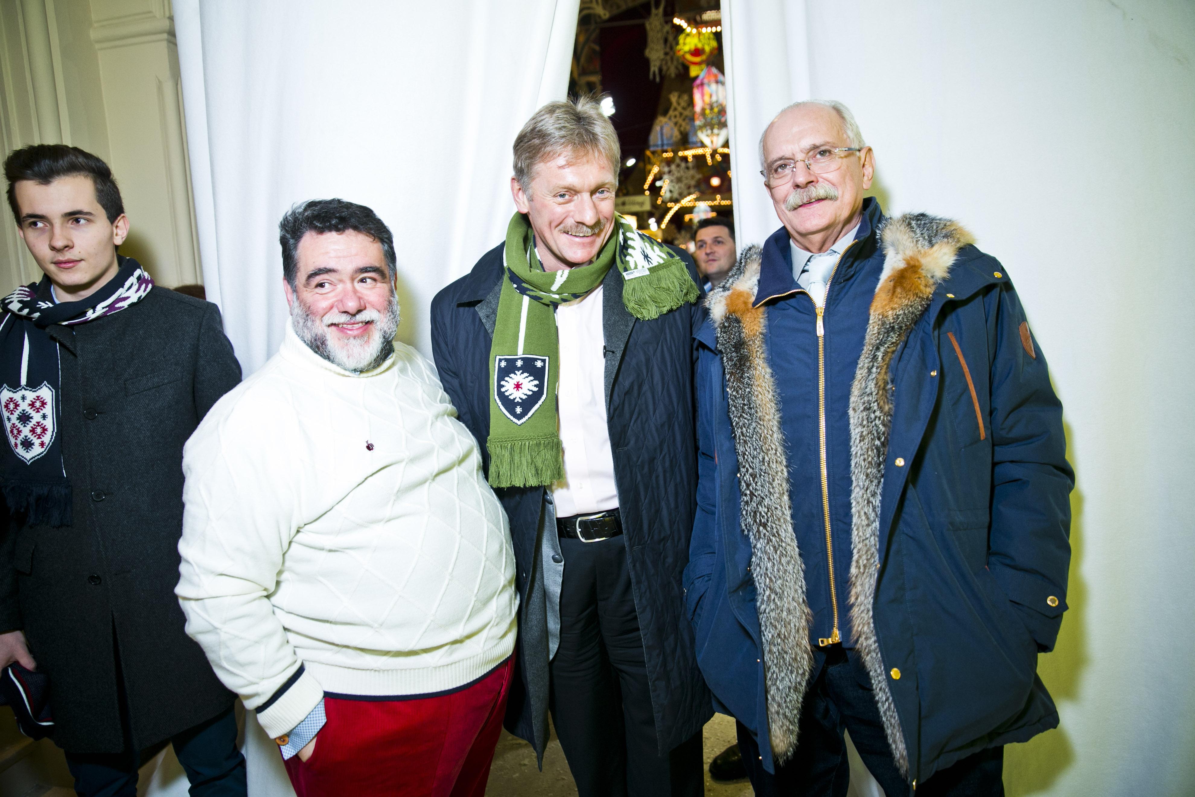 Михаил Куснирович (Bosco), пресс-секретарь Владимира Путина Дмитрий Песков и режиссер Никита Михалков