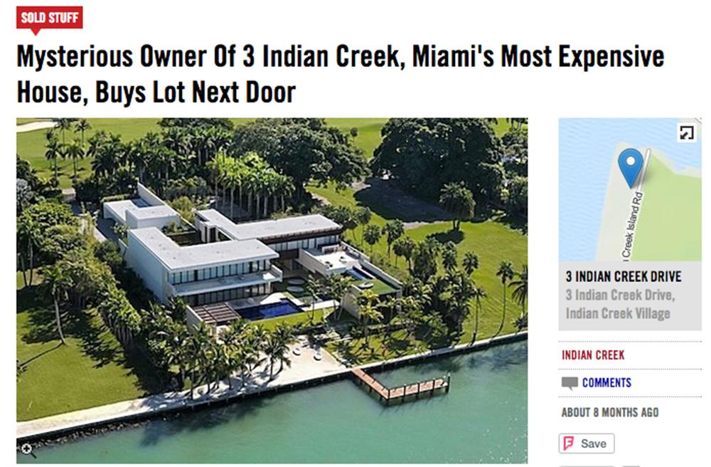 Как сообщают американские СМИ, «таинственный русский» купил самое дорогое поместье «бункера миллиардеров» в Майами
