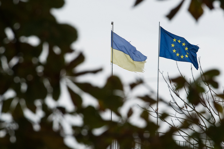 <p><span>Флаги Украины и ЕС. Фото:&copy; РИА Новости/Раиль Ситдиков</span></p>