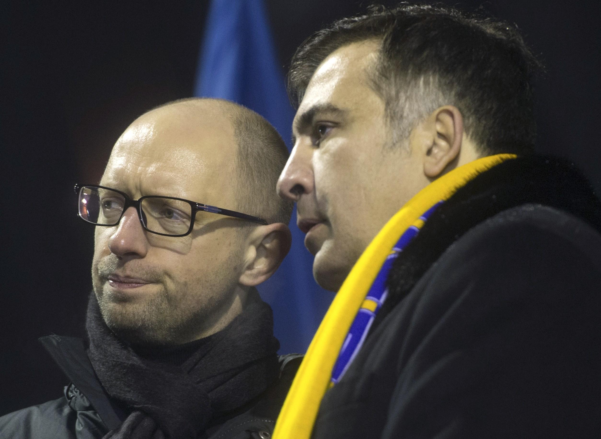 <p>Арсений Яценюк (слева) и Михаил Саакашвили (справа). Фото: &copy;РИА Новости/Илья Питалев</p>