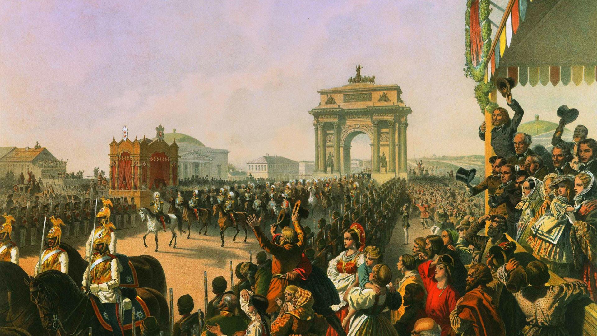 Зичи М.А. Торжественный въезд Александра II и его окружения в Москву