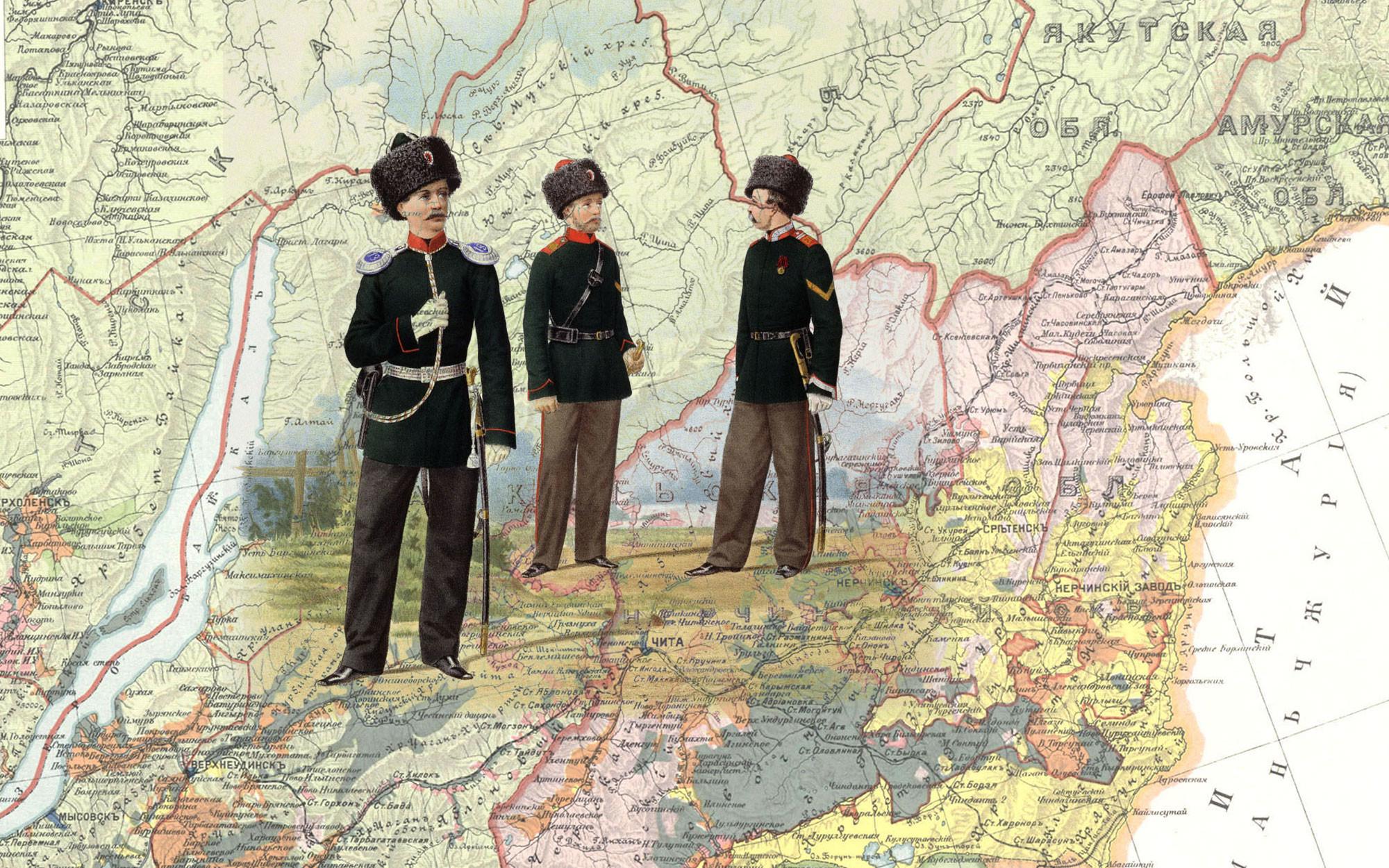 Пешие батальоны Забайкальского казачьего войска и конные: Иркутский и Енисейский казачьи полки, 1867 г. Коллаж © L!FE Фото: © Wikipedia.org