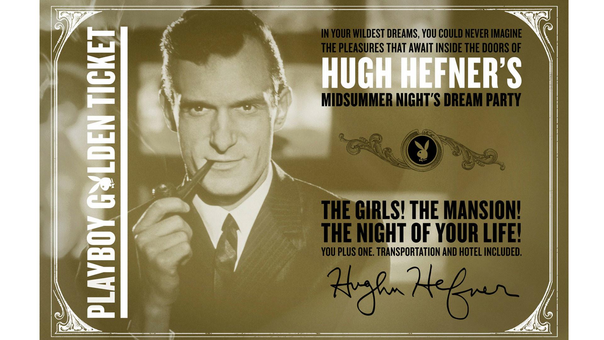Золотой рекламный билет, предлагающий вход на вечеринку Хью Хефнера в особняке Playboy. Фото: © REUTERS/Playboy Enterprises