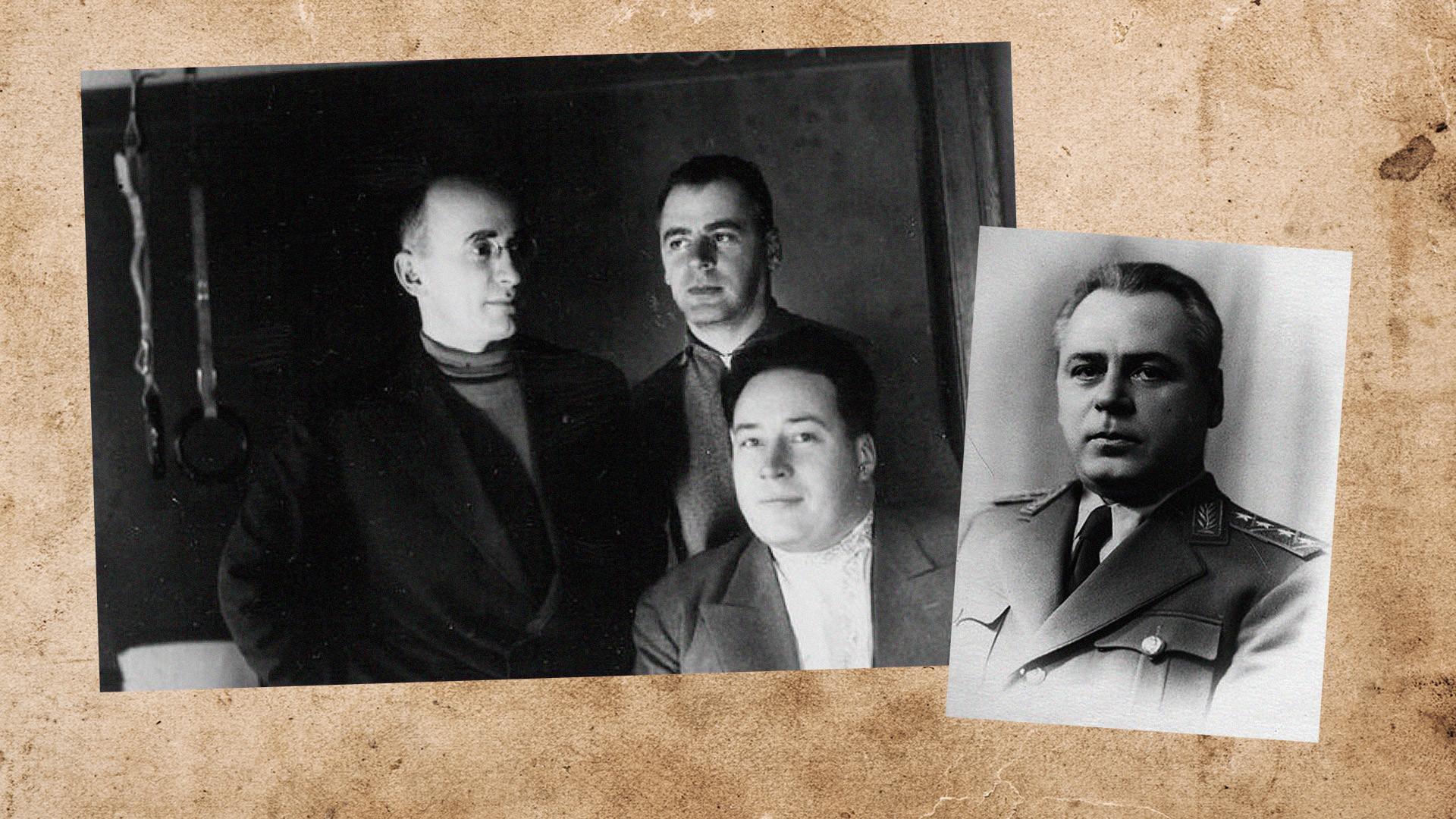 Л. П. Берия (слева), В. Н. Меркулов — на 2-м плане. Всеволод Меркулов. Коллаж © L!FE. Фото © Wikimedia Commons